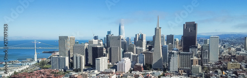 Keuken foto achterwand San Francisco Panorama aerial view Jackson Square neighborhood with downtown skylines and Bay Bridge in background