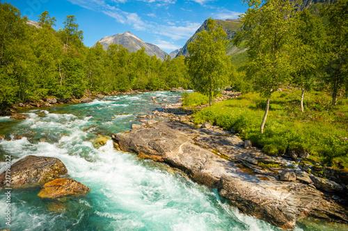 Beautiful mountain river near Trollstigen in Norway, Scandinavia