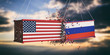 USA and Russia trade war. US of America and Russian flags crashed containers on sky at sunset background. 3d illustration