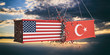 USA and Turkey trade war. US of America and Turkish flags crashed containers on sky at sunset background. 3d illustration