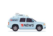 Modern Breaking News Mobile Broadcasting Vehicle Illustration