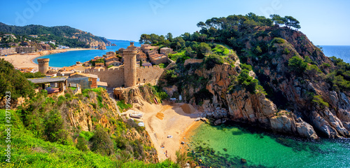 Poster Mediterranean Europe Tossa de Mar, sand beach and Old Town walls, Catalonia, Spain
