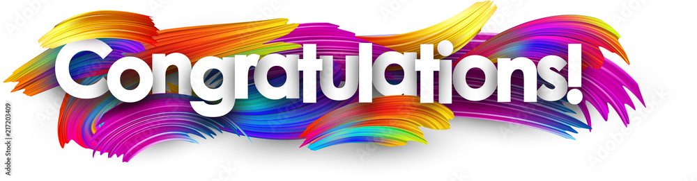 Fototapeta Congratulations paper banner with colorful brush strokes.