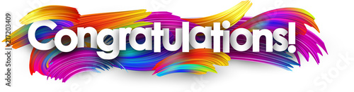 Congratulations paper banner with colorful brush strokes. Fototapete