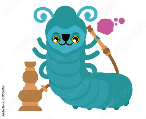 Photo  blue smoking caterpillar