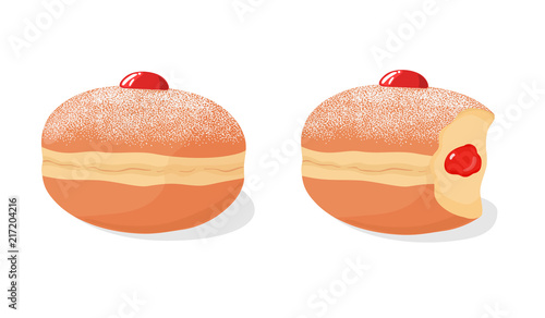 Set of deep fried sufganiyah donuts (doughnuts) powdered sugar topping, with missing bite and jam filling, isolated on white background. Israel pastry. Traditional Hanukkah dish. Vector illustration.