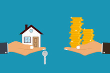 Hand Holds House And Key On Finger And Giving, Receiving Golden Coins From Other Hand. Concept For Home Agent, Sale And Rent Of A House And Buyer Or Customer. Vector Illustration.