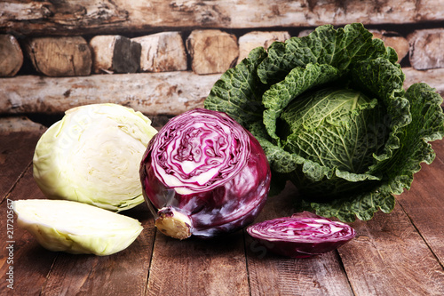 Canvas Print Three fresh organic cabbage heads