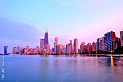 Foto op Plexiglas Chicago Chicago Skyline at Sunset in Epic Colors