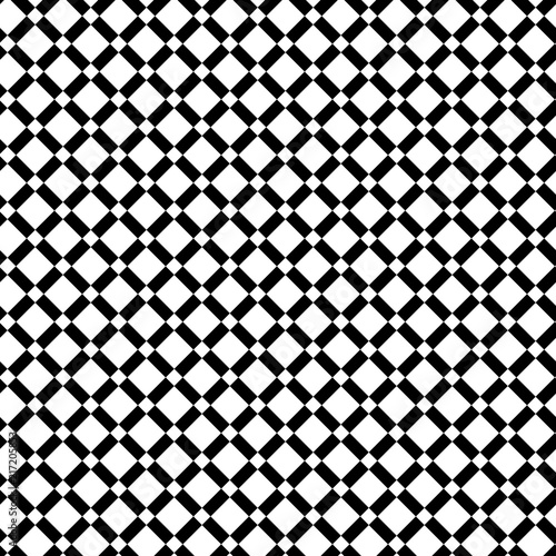 Geometric seamless black and white pattern with intersecting