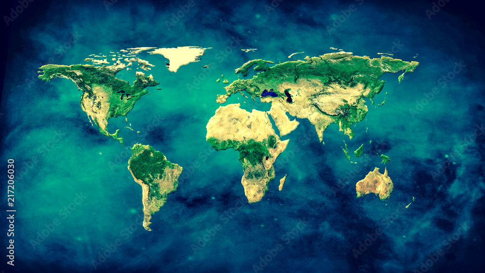 Fototapety, obrazy: Physical world map illustration. Elements of this image furnished by NASA