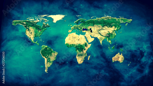 Photo  Physical world map illustration