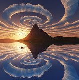 Reflection of spiral clouds over mountain peak