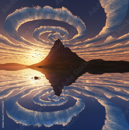 Poster Spirale Reflection of spiral clouds over mountain peak