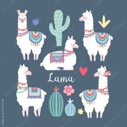 Lama alpaca or guanaco graphic elements Wallpaper Mural