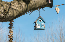 Blue Wooden Bird House In A Tree In The Park.