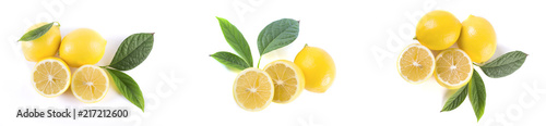 Lemons with leaves on a white background. Fresh lemons on a white background.
