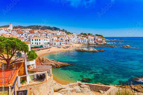 Fotoposter Barcelona Sea landscape with Calella de Palafrugell, Catalonia, Spain near of Barcelona. Scenic fisherman village with nice sand beach and clear blue water in nice bay. Famous tourist destination in Costa Brava