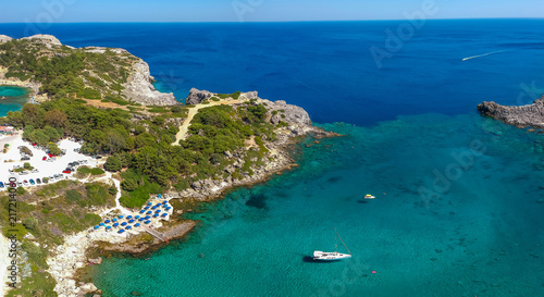 Aerial birds eye view drone photo Ladiko bay near Anthony Quinn on Rhodes island, Dodecanese, Greece. Panorama with nice lagoon and clear blue water. Famous tourist destination in South Europe