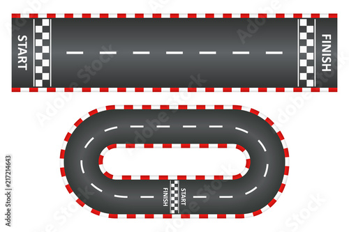 Vászonkép Racing track, top view of asphalt roads set, kart race with start and finish line