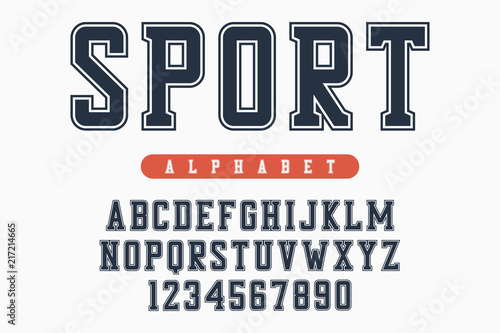 Sport font, original college alphabet  Athletic style letters and
