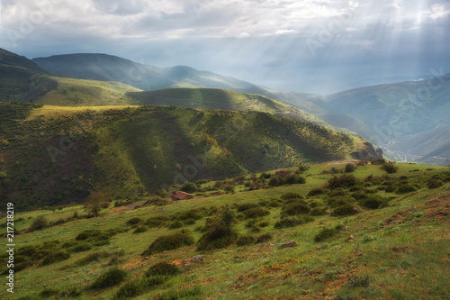 Valley landscape with rays of sunlight in La Rioja, Spain.