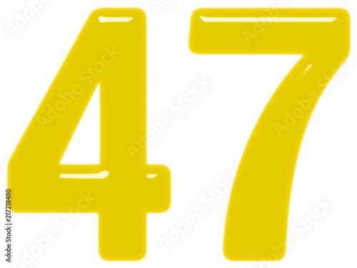 Poster  Numeral 47, forty seven, isolated on white background, 3d render