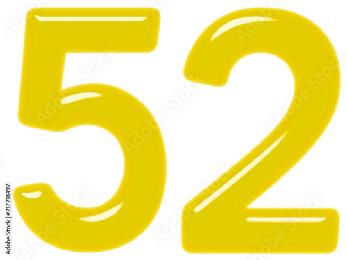 Fotografía  Numeral 52, fifty two, isolated on white background, 3d render