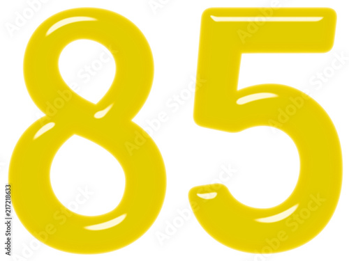 Poster  Numeral 85, eighty five isolated on white background, 3d render