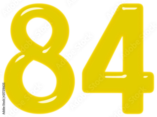 Fotografia  Numeral 84, eighty four, isolated on white background, 3d render