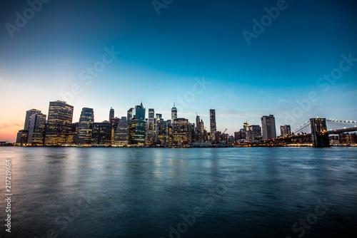 New York city sunset panorama Canvas Print