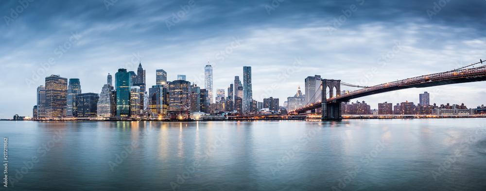 Fototapety, obrazy: New York city sunset panorama