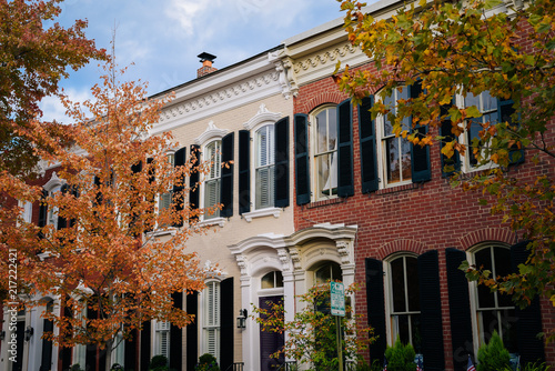 Fall color and row houses in Old Town, Alexandria, Virginia Wallpaper Mural