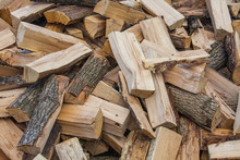 Woodpile Of Chopped Lumber. Pi...