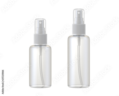 clear glass bottle spray isolated on white background, 3D rendering Canvas Print