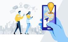 Social Media Share. Online Community. Like, Share, Application, Location, Navigation, Flat Cartoon Illustration Vector Graphic On White Background.