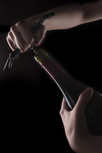 Woman Hand Hold A Wine Bottle ...
