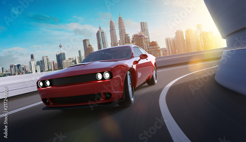 Fotografía Front angle view of a generic red brandless American muscle car in a city street road  with motion blur