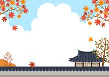 Maple Tree With Korean Traditional House And Korean Traditional Wall Fence Landscape