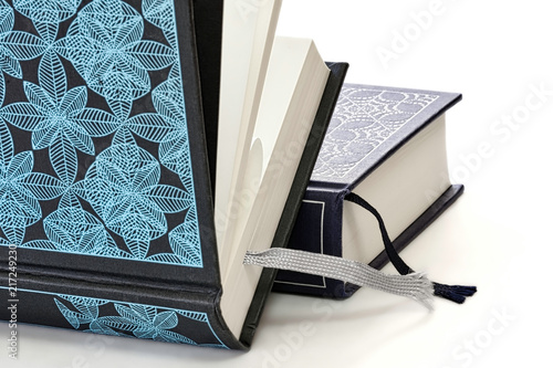 Fotografering  Close-up of two hardcover books with decorative covers