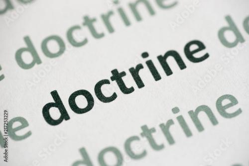 Vászonkép word doctrine printed on paper macro