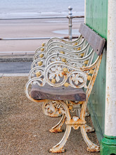Antique Bench On The Blackpool Promenade.