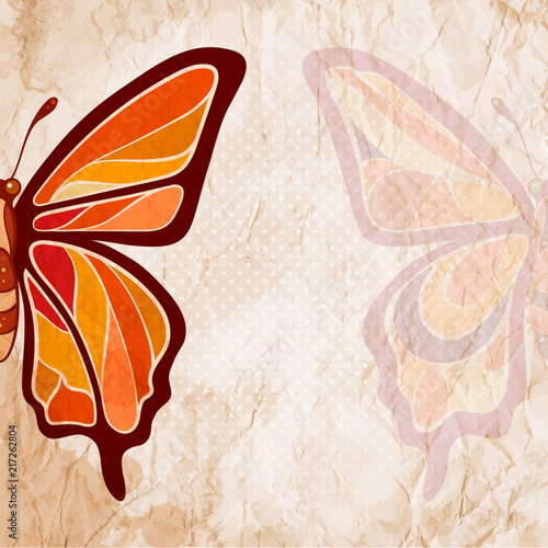 Foto op Aluminium Vlinders in Grunge Colorful butterfly on a grunge retro background. Vintage style card.