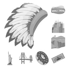 USA Country Monochrome Icons In Set Collection For Design.Travel And Attractions Vector Symbol Stock Web Illustration.