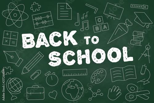 Vászonkép Schulstart ins neue Schuljahr Vector Tafel mit icons