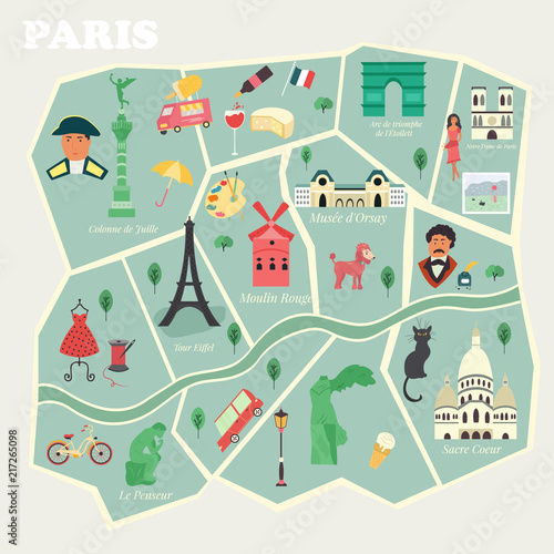 Photo  Map of Paris with streets and famous places