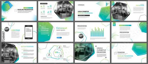 Fototapeta Green geometric slide presentation templates and infographics background. Use for business annual report, flyer, corporate marketing, leaflet, advertising, brochure, modern style. obraz