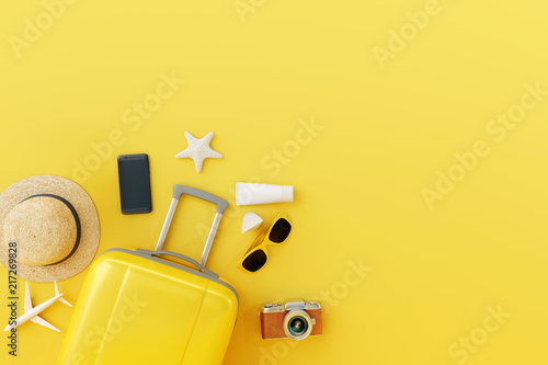 Obraz Flat lay yellow suitcase with traveler accessories on yellow background. travel concept. 3d render - fototapety do salonu