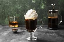Irish Coffee With Whisky On Da...