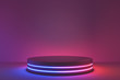 canvas print picture - Blank product stand with neon lights on dark room background. 3d rendering